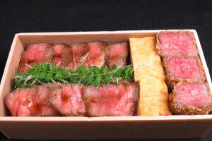 ステーキと牛カツ弁当