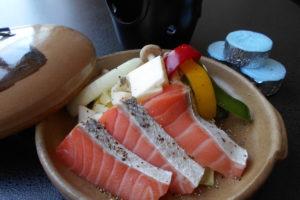 鮭の陶板焼き