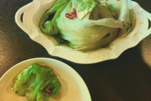 Boiled Lettuce w/ Oyster sauce(home made) 丸ごと茹でレタス