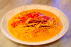 渡り蟹トマトクリーミースパゲティー