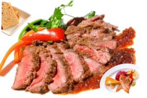 アンガス牛ステーキ オニオンソース (自家製ライ麦orバターライス、オードブル盛合せ付)