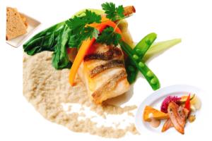 マトウ鯛のソテー 牛蒡ソース (自家製ライ麦orバターライス、オードブル盛合せ付)