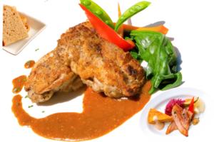 若鶏のロースト 粒マスタードソース (自家製ライ麦orバターライス、オードブル盛合せ付)